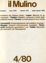 Copertina del fascicolo dell'articolo Welfare State: obiettivi, contenuti e limiti delle politiche sociali